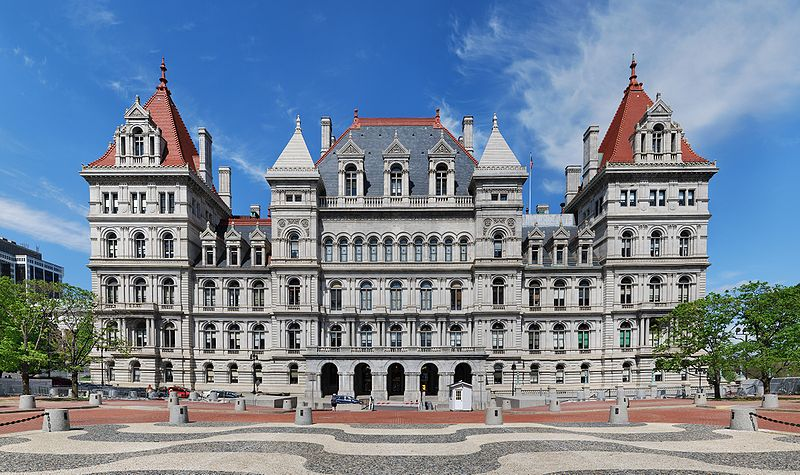 New York State Capitol, where Edna Kearns campaign wagon is on display.