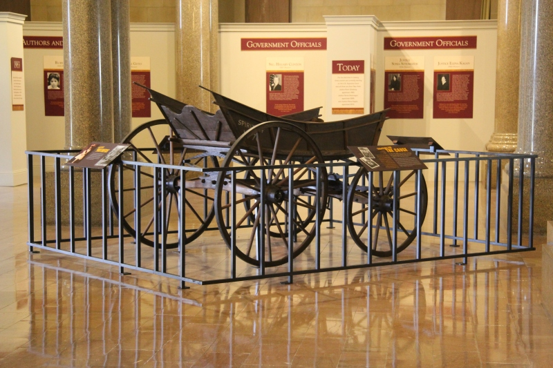 "The ""Spirit of 1776"" suffrage campaign wagon on display at NYS capitol in Albany, Ny"