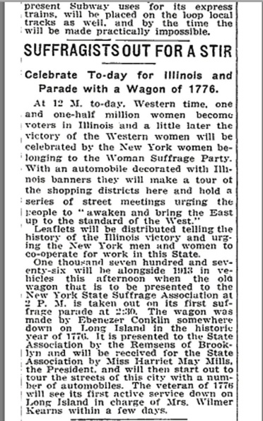 Article about Edna Kearns' suffrage campaign wagon