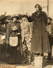 Suffragist Elisabeth Freeman on her soapbox. From the web site elisabethfreeman.org published by her great niece, Peg Johnston.