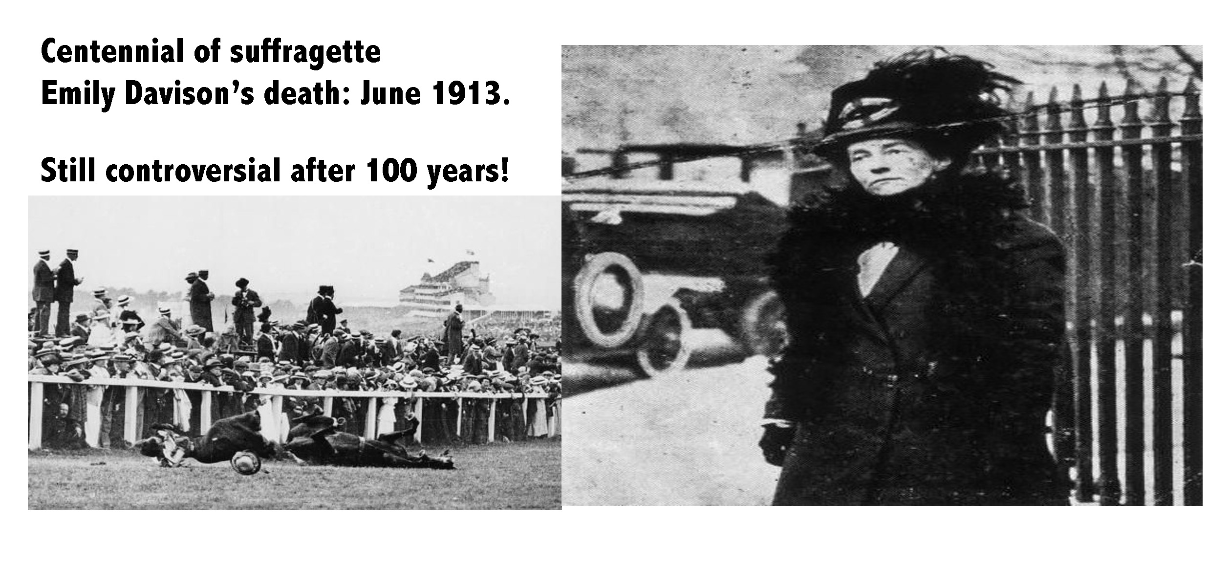 emily davison suicide or accident essay 2013-5-25  the suffragette mown down by the king's horse at the 1913 epsom derby is an iconic image of the women's movement but it has been claimed emily davison.