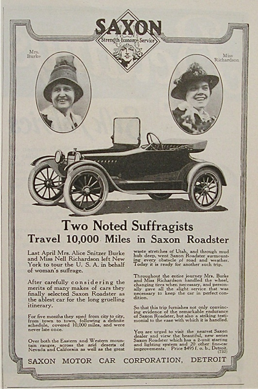 Suffrage auto trip across country
