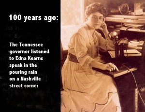 Story of Tennessee governor listens to Edna Kearns in pouring rain