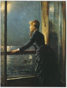 Alfred Stevens (Belgium painter, 1828-1906) Looking Out at the Sea